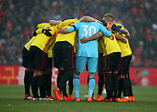 17th March 2018, Anfield, Liverpool, England; EPL Premier League football, Liverpool versus Watford; the Watford players form a huddle before the kick off