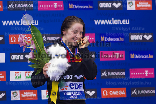 Sarah Poewe of Germany celebrates her victory in the Womens's 100m Breaststroke final of the 31th European Swimming Championships in Debrecen, Hungary on May 23, 2012. ATTILA VOLGYI