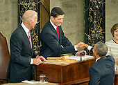 United States President Barack Obama shakes hands with the Speaker of the US House Paul Ryan (Republican of Wisconsin) as he arrives to deliver his final State of the Union Address in the US House Chamber in the US Capitol on Tuesday, January 12, 2016.  US Vice President Joe Biden looks on from left.<br /> Credit: Ron Sachs / CNP<br /> (RESTRICTION: NO New York or New Jersey Newspapers or newspapers within a 75 mile radius of New York City)