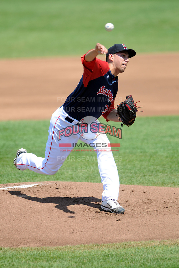 Portland Sea Dogs pitcher Matt Barnes #35 during a game versus the Altoona Curve at Hadlock Field in Portland, Maine on June 2, 2013. (Ken Babbitt/Four Seam Images)