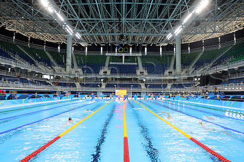 31.07.2016. Rio de Janeiro, Brazil.  General view of the venue during the Swimming Training Sessions at the Olympic Aquatics Stadium at Olympic Park Barra prior to the Rio 2016 Olympic Games in Rio de Janeiro, Brazil, 1 August 2016. Rio 2016 Olympic Games take place from 05 to 21 August.