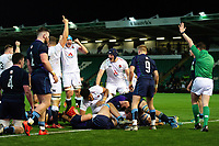 Tom Willis of England U20 scores a try in the first half. U20 Six Nations match, between England U20 and Scotland U20 on March 15, 2019 at Franklin's Gardens in Northampton, England. Photo by: Patrick Khachfe / JMP