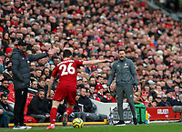 1st February 2020; Anfield, Liverpool, Merseyside, England; English Premier League Football, Liverpool versus Southampton; Liverpool manager Jurgen Klopp and Southampton manager Ralph Hasenhuttl react to the action