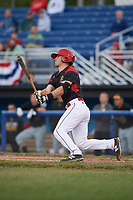 Batavia Muckdogs catcher David Gauntt (7) at bat during a game against the West Virginia Black Bears on June 26, 2017 at Dwyer Stadium in Batavia, New York.  Batavia defeated West Virginia 1-0 in ten innings.  (Mike Janes/Four Seam Images)