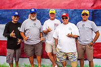 HONOLULU - (Tuesday, November 27, 2012) Nuno Jonet (PRT) annoucer, Skill Johnson (HAW) site manager, Randy Rarrick (HAW) director, Jack Shipley (HAW) judge and Bernie Baker (HAW) contest director, all stalwarts of the Triple Crown of Surfing will retire at the end of this year's events. 92 year old Rabbit Kekai (HAW) is missing from the photo due to ill health-- The VANS World Cup of Surfing, a ASP Prime Event with$250,000 in prize-money  is officially got  underway at Sunset Beach today, with waves in the 5-7 foot range. The second jewel of the $1M VANS Triple Crown of Surfing, the VANS World Cup will require four full days of competition between now and December 6...Winner of the first jewel - the REEF Hawaiian Pro - last week was Sebastian Zietz (HAW). Zietz is seeded through to the round of 64 and will surf on Day 3 of the competition...Surfing today are: Dane Reynolds (USA); Nathan Hedge (AUS); Ezekiel Lau (HAW); Ricardo Dos Santos (BRA); Ian Walsh (HAW); Alain Riou (PYF); Marc Lacomare (FRA);  and Mason Ho (HAW).  Photo: joliphotos.com