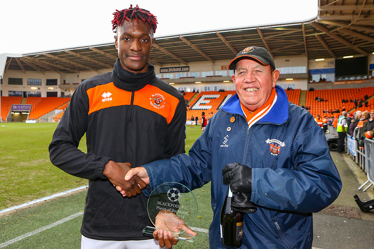 Blackpool's Armand Gnanduillet receives the player of the month award<br /> <br /> Photographer Alex Dodd/CameraSport<br /> <br /> The EFL Sky Bet League One - Blackpool v Shrewsbury Town - Saturday 19 January 2019 - Bloomfield Road - Blackpool<br /> <br /> World Copyright &copy; 2019 CameraSport. All rights reserved. 43 Linden Ave. Countesthorpe. Leicester. England. LE8 5PG - Tel: +44 (0) 116 277 4147 - admin@camerasport.com - www.camerasport.com
