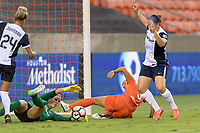 Houston, TX - Saturday July 15, 2017: Stephanie Labbé stops an attempt on goal by Rachel Daly during a regular season National Women's Soccer League (NWSL) match between the Houston Dash and the Washington Spirit at BBVA Compass Stadium.