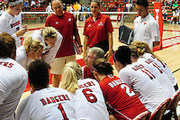 Wisconsin coach, Pete Waite, talks to the team, as the Badgers volleyball goes up against Duke on Friday at the University of Wisconsin Field House in Madison