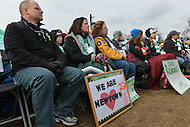 January 26, 2013  (Washington, DC)  Family members of Sandy Hook shooting victims listen to speakers on the National Mall after the March on Washington for Gun Control  (Photo by Don Baxter/Media Images International)
