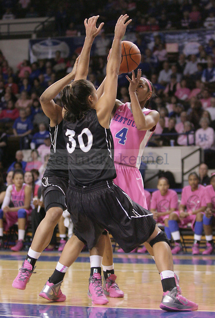 UK guard Keyla Snowden attempts to shoot the ball while being double teamed during the second half of the UK Women's basketball game against Vanderbilt on 2/20/12 at Memorial Coliseum in Lexington, Ky. Photo by Quianna Lige | Staff