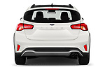 Straight rear view of 2019 Ford Focus Active 5 Door Hatchback Rear View  stock images