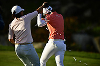 I.K. Kim (KOR) pours champagne on The 2018 Kia Classic Champion Eun-Hee Ji (KOR) during the Final Round at the Kia Classic,Park Hyatt Aviara Resort, Golf Club &amp; Spa, Carlsbad, California, USA. 3/25/18.<br /> Picture: Golffile | Bruce Sherwood<br /> <br /> <br /> All photo usage must carry mandatory copyright credit (&copy; Golffile | Bruce Sherwood)