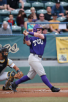 Evan Skoug (9) of the TCU Horned Toads bats against the Long Beach State Dirtbags  at Blair Field on March 14, 2017 in Long Beach, California. Long Beach defeated TCU, 7-0. (Larry Goren/Four Seam Images)