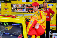 July 15, 2017 - Loudon, New Hampshire, U.S. - Joey Logano, Monster Energy NASCAR Cup Series driver of the Shell Pennzoil Ford (22), climbs into his car for the NASCAR Monster Energy Overton's 301 practice round held at the New Hampshire Motor Speedway in Loudon, New Hampshire. Larson placed first in the qualifier. Eric Canha/CSM