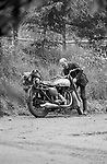 The local vicar  lived and worked from a corrugated iron churchand rote a battered old Triumph motorbike.  He was entirely sympathetic to the cause.
