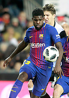 Valencia CF's Luciano Vietto (r) and FC Barcelona's Samuel Umtiti during Spanish King's Cup Semi Final 2nd match. February 8,2018.  *** Local Caption *** © pixathlon<br /> Contact: +49-40-22 63 02 60 , info@pixathlon.de