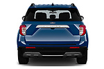 Straight rear view of 2020 Ford Explorer XLT 5 Door SUV Rear View  stock images