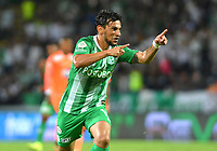MEDELLÍN - COLOMBIA ,23-10-2019:Alberto Costa jugador del Atlético Nacional celebra después anotar un gol al  Envigado   durante partido por la fecha 19 de la Liga Águila II 2019 jugado en el estadio Atanasio Girardot de la ciudad de Medellín. /Alberto Costa player of Atletico Nacional celebrtes after scorng a goal  agaisnt  of Envigado  during the match for the date 19 of the Liga Aguila I 2019 played at the Atanasio Girardot  Stadium in Medellin  city. Photo: VizzorImage / León Monsalve / Contribuidor.