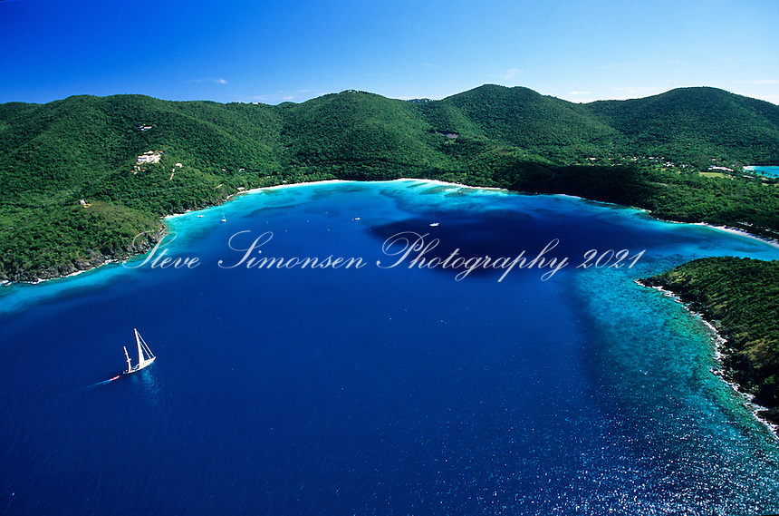 Hawksnest Bay Aerial.Virgin Islands National Park.St. John, US Virgin Islands