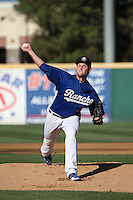 Trevor Oaks (34) of the Rancho Cucamonga Quakes pitches during a game against the Inland Empire 66ers at LoanMart Field on September 6, 2015 in Rancho Cucamonga, California. Rancho Cucamonga defeated Inland Empire, 10-6. (Larry Goren/Four Seam Images)
