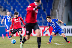 Muangthong Midfielder Chanathip Songkrasin (L) fights for the ball with Ulsan Hyundai Midfielder Han Seunggyu (R) during the AFC Champions League 2017 Group E match between  Ulsan Hyundai FC (KOR) vs Muangthong United (THA) at the Ulsan Munsu Football Stadium on 14 March 2017 in Ulsan, South Korea. Photo by Chung Yan Man / Power Sport Images