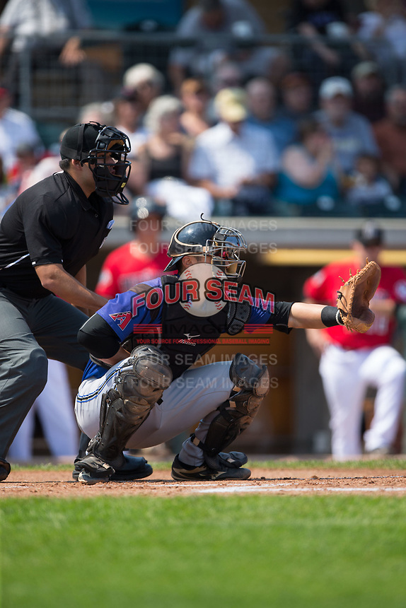 Missoula Osprey catcher Andy Yerzy (38) sets a target as home plate umpire Edgar Huerta-Morales looks on during the game against the Billings Mustangs at Dehler Park on August 20, 2017 in Billings, Montana.  The Osprey defeated the Mustangs 6-4.  (Brian Westerholt/Four Seam Images)