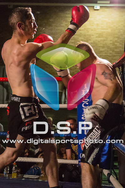 Luke Piper VS John Johnson. Photo by: Stephen Smith<br /> <br /> Warrior Fight Nights 4 - Sunday 31st May 2014. The Littledown Centre, Bournemouth, Dorset, United Kingdom.