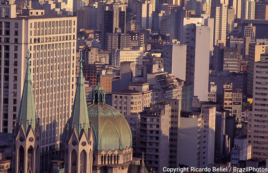 Downtown Sao Paulo, Brazil - catholic church roof and commercial buildings.