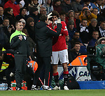 Manchester United's Marouane Fellaini gets a bang on the nose<br /> <br /> FA Cup - Preston North End vs Manchester United  - Deepdale - England - 16th February 2015 - Picture David Klein/Sportimage