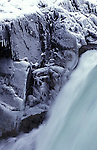 Salto Grande waterfall in winter, Torres del Paine National Park,Chile.