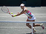 April 9,2016:   Angelique Kerber (GER) (retired) loses to Sloane Stephens (USA) 6-1, 3-0, at the Volvo Car Open being played at Family Circle Tennis Center in Charleston, South Carolina.  ©Leslie Billman/Tennisclix/Cal Sport Media