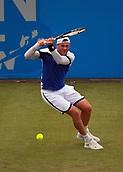 June 12th 2017,  Nottingham, England; WTA Aegon Nottingham Open Tennis Tournament day 3;  Ukranian no8 seed Illya Marchenko hits a backhand to Liam Broady of the UK