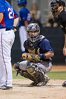 AZL Padres 2 catcher Janigson Villalobos (13) on defense during a game against the AZL Rangers on August 2, 2017 at the Texas Rangers Spring Training Complex in Surprise, Arizona. Padres 2 defeated the Rangers 6-3. (Zachary Lucy/Four Seam Images)