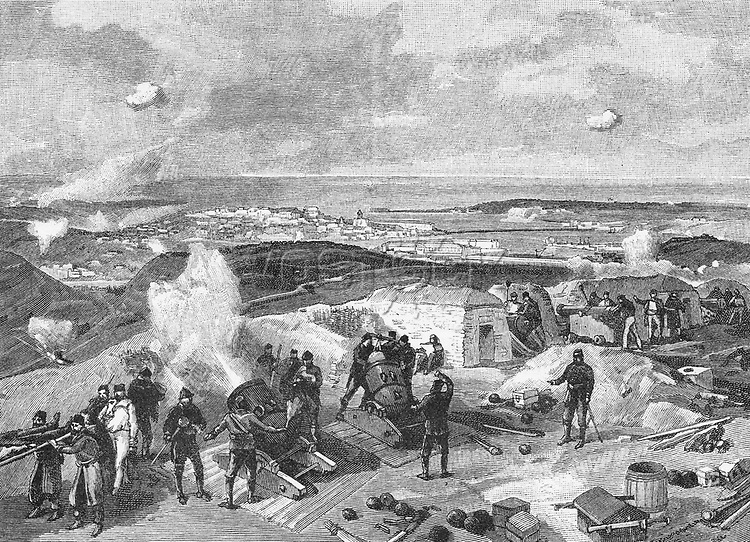 Sevastapol from the right attack, the Crimean war, 1855,. Image shot 1901. Exact date unknown.