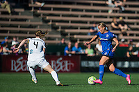 Seattle, WA - Sunday, May 01, 2016: Seattle Reign FC forward Merritt Mathias (9). The Seattle Reign FC defeated FC Kansas City 1-0 during a National Women's Soccer League (NWSL) match at Memorial Stadium.
