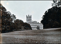 BNPS.co.uk (01202 558833)<br /> Pic: Lawrences/BNPS<br /> <br /> The house which became the set of Downton Abbey.<br /> <br /> An intimate set of portraits of the real Downton Abbey which include the visit of the future king have been unearthed after more than 120 years.<br /> <br /> The magnificent 19th century Highclere Castle, in Hampshire, was home to George Herbert, fifth Earl of Carnarvon, and his wife Almina Herbert in the late 19th and early 20th century.<br /> <br /> The album, which is up for auction, contains 44 large mounted photographs of the house, staff and estate of Highclere in 1895.<br /> <br /> Included are images of Carnarvon with his wife Almina, various shooting parties including one involving Prince Edward (the future Edward VII) and the house staff.