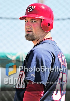 1 March 2010: Washington Nationals' catcher Derek Norris takes batting practice during Spring Training at the Carl Barger Baseball Complex in Viera, Florida. Mandatory Credit: Ed Wolfstein Photo