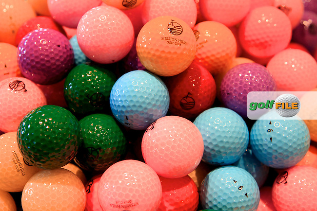 Balls on display in the shop at the Omega Mission Hills World Cup played at The Blackstone Course, Mission Hills Golf Club on November 24th in Haikou, Hainan Island, China..Picture Phil Inglis www.golffile.ie