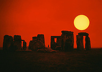 Stonehenge in silhouette. Salisbury Plain, England.