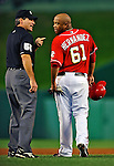 28 August 2010: Washington Nationals starting pitcher Livan Hernandez has a word with umpire Angel Hernandez during a game against the St. Louis Cardinals at Nationals Park in Washington, DC. The Nationals defeated the Cards 14-5 to take the third game of their 4-game series. Mandatory Credit: Ed Wolfstein Photo