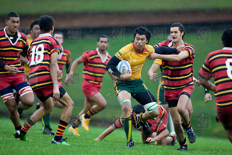Counties Manukau High School Rugby game between Pukekohe High School and Manurewa High School played as a curtain raiser before the Counties Manukau Steelers vs North Harbour ITM Cup pre-season game at Bayer Growers Stadium, Pukekohe, on Wednesday July 21st 2010..Manurewa High won 10 - 3.