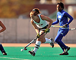 24 October 2008: University of Vermont Catamounts' midfielder/defenseman Kim Striegler, a Senior from Whitney Point, NY, in action against the Hofstra University Pride at Moulton Winder Field, in Burlington, Vermont. The Catamounts shut out the visiting Pride 3-0...Mandatory Photo Credit: Ed Wolfstein Photo