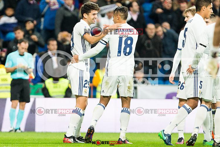 "Real Madrid's Mariano, Enzo Zidane during the match of ""Copa del Rey"" between Real Madrid and Cultural Leonesa at Santiago Bernabeu Stadium in Madrid, Spain. November 29, 2016. (ALTERPHOTOS/Rodrigo Jimenez) /NORTEPHOTO.COM"