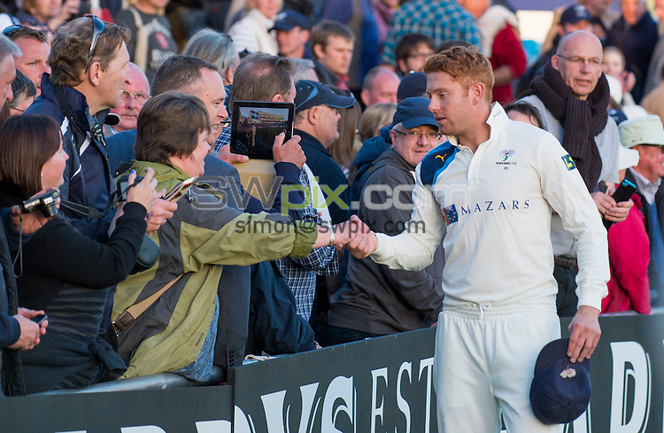 Picture by Allan McKenzie/SWpix.com - 26/09/2014 - Cricket - LV County Championship Div One - Yorkshire County Cricket Club v Somerset County Cricket Club - Headingley Cricket Ground, Leeds, England - Yorkshire's Jonny Bairstow meets the supporters.