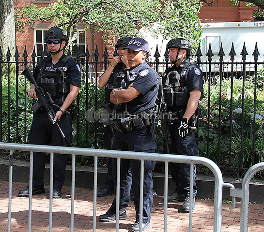 NEW YORK, NY - JUNE 13: New York City Police stand guard near LGBT landmark Stonewall Inn in New York, New York on June 13, 2016.  Photo Credit: Rainmaker Photo/MediaPunch
