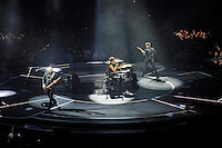 LONDON, ENGLAND - APRIL 3: Chris Wolstenholme, Dominic Howard and Matt Bellamy of 'Muse' performing at the O2 Arena on April 3, 2016 in London, England.<br /> * Press use only. No merchandising *<br /> CAP/MAR<br /> &copy;MAR/Capital Pictures /MediaPunch ***NORTH AND SOUTH AMERICAS ONLY***