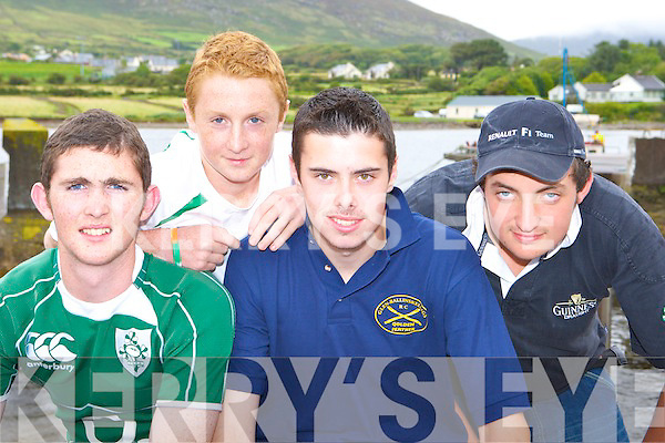 The Ballinskelligs u16 crew who competed at the Caherciveen regatta on Sunday was l-r: Naoise Tarrant, Finan Tarrant, Kevin O'Sullivan and Johnaton Murphy   Copyright Kerry's Eye 2008