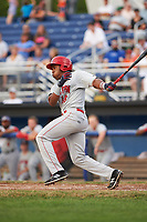 Auburn Doubledays third baseman Omar Meregildo (18) hits an RBI single in the top of the fourth inning during a game against the Batavia Muckdogs on July 6, 2017 at Dwyer Stadium in Batavia, New York.  Auburn defeated Batavia 4-3.  (Mike Janes/Four Seam Images)