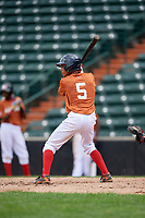 Brenny Escanio (5) at bat during the Dominican Prospect League Elite Underclass International Series, powered by Baseball Factory, on July 21, 2018 at Schaumburg Boomers Stadium in Schaumburg, Illinois.  (Mike Janes/Four Seam Images)