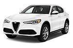 2018 Alfa Romeo Stelvio Ti 5 Door SUV angular front stock photos of front three quarter view